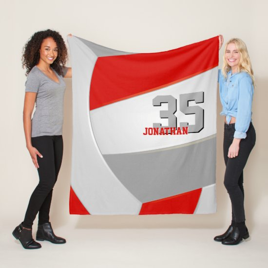 red gray and white boys or girls sports volleyball fleece blanket