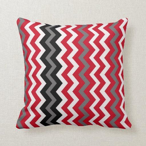 Throw Pillows Girly : Red,Gray and White Chevron Throw Pillow Zazzle