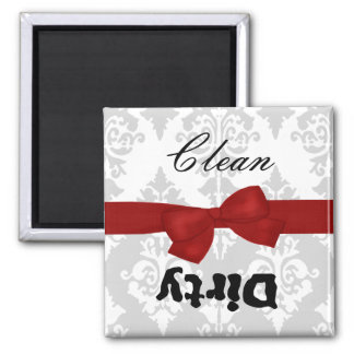 Red, Gray, and White Clean-Dirty Kitchen Magnet