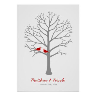 Red Gray Birds Fingerprint Tree Wedding Poster
