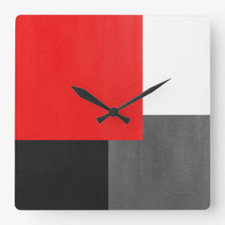 Red Gray Black and White Geometric Block Square Wall Clock