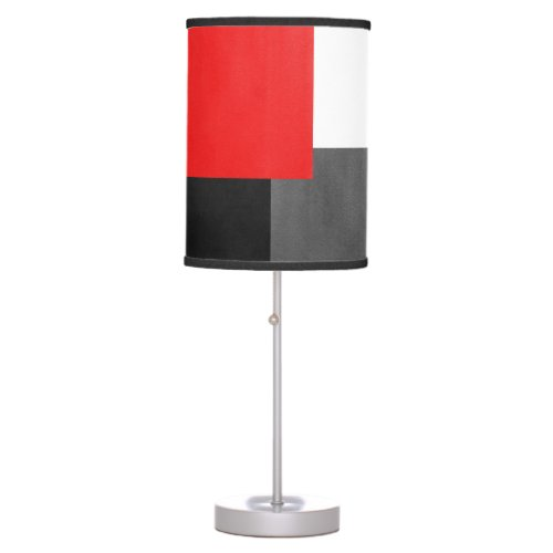 Red Gray Black and White Geometric Block Table Lamp