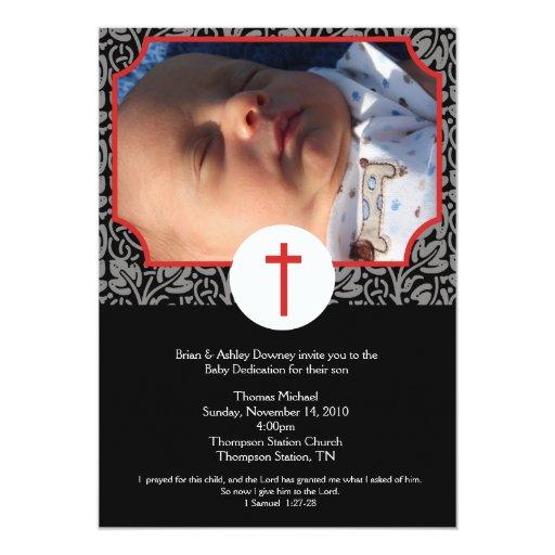 Red/Gray/Black Baptism Baby Dedication 5x7 photo Card