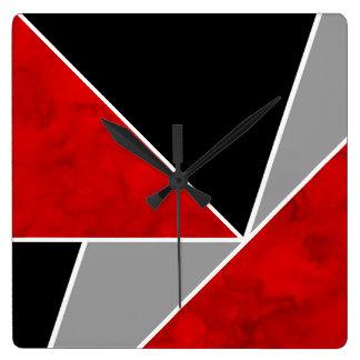 Red Gray Black Color Block Square Wall Clock