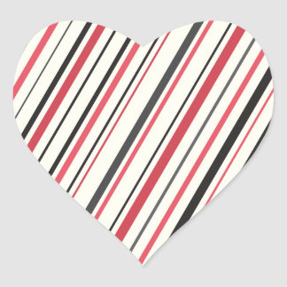 Red gray black cream retro stripes striped pattern heart sticker