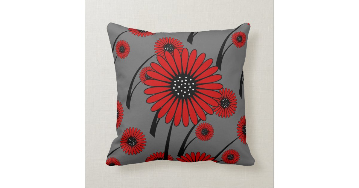 Black Flower Throw Pillow : Red Gray Black Floral Flowers Throw Pillow Zazzle
