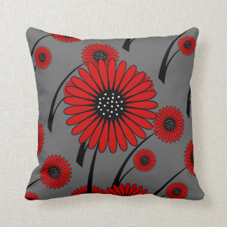 Red Gray Black Floral Flowers Throw Pillow