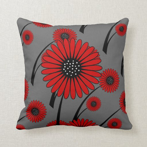red gray black floral flowers throw pillow zazzle. Black Bedroom Furniture Sets. Home Design Ideas