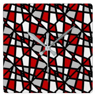 Red Gray Black Geometric Pattern Square Wall Clock