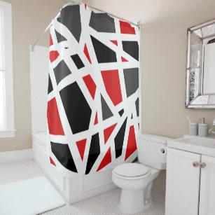 Red Gray Black White Geometric 2 Shower Curtain