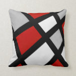 "Red Gray Black White Geometric Throw Pillow<br><div class=""desc"">Pillow printed with original acrylic geometric painting in red,  gray,  black and white.</div>"