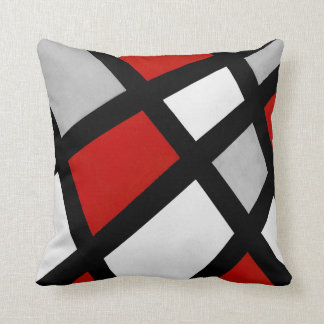 Red Gray Black White Geometric Throw Pillow