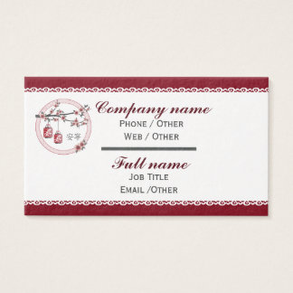 "Red gray blossom lanterns ""Tranquility"" Business Card"