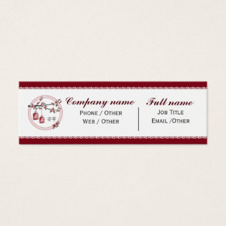 "Red gray blossom lanterns ""Tranquility"" Mini Business Card"