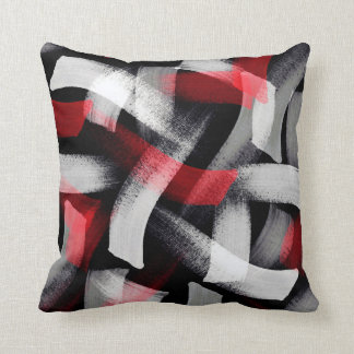 Red Gray Brushstrokes Throw Pillow