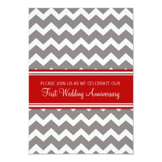 Red Gray Chevron 1st Anniversary Invitation