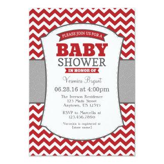red gray chevron baby shower invitation