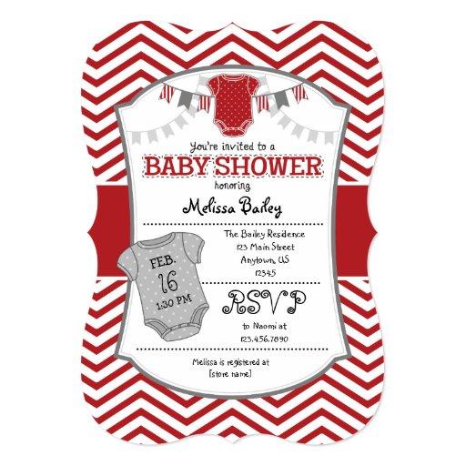 red gray chevron baby shower invitation zazzle