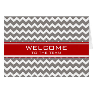 Red Gray Chevron Employee Welcome to the Team Greeting Card