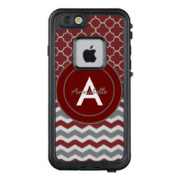 Red Gray Chevron Quatrefoil LifeProof FRĒ iPhone 6/6s Case