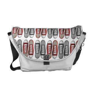 Red & Gray Classic Sneaker Pattern Messenger Bag