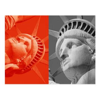 Red Gray Collage Closeup Statue Liberty Postcard