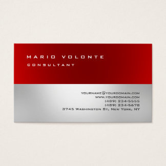 Red Gray Elegant Simple Plain Professional Business Card