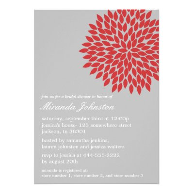 Red & Gray Flower Bridal Shower Invitations