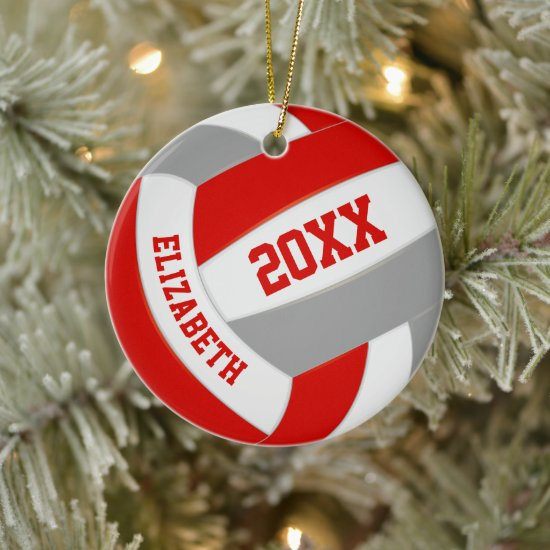 red gray girls boys team colors volleyball ceramic ornament