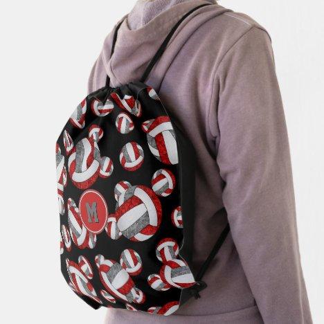 red gray girls school team colors volleyballs drawstring bag