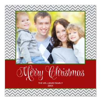 Red Gray Green Chevron Christmas Square Photo Card