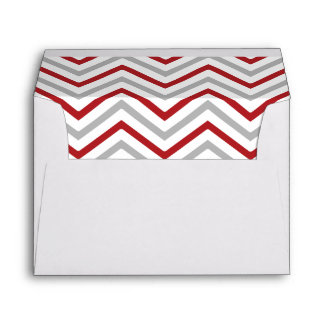 Red Gray Grey Chevron Lined Envelope