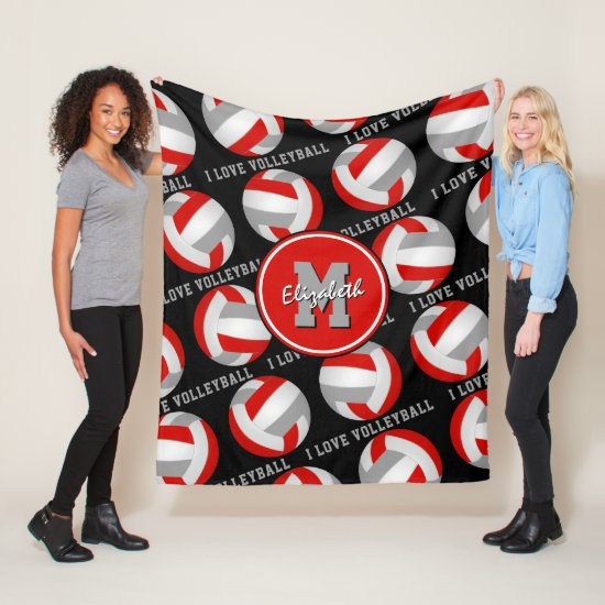 red gray I love volleyball text sports decor Fleece Blanket
