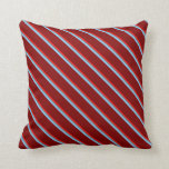 [ Thumbnail: Red, Gray, Light Sky Blue, and Maroon Pattern Throw Pillow ]
