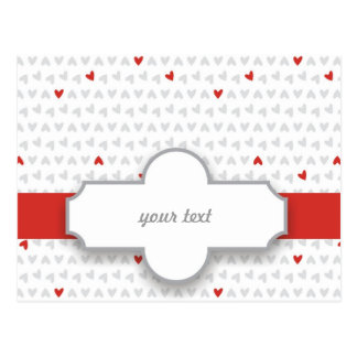 red & gray little hearts postcard