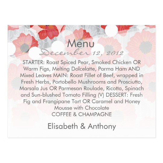 red & gray lovely floral wedding menu postcard