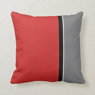 Red Gray Modern Throw Pillow