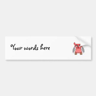 Red gray owl bumper sticker