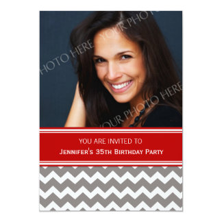 Red Gray Photo 35th Birthday Party Invitations