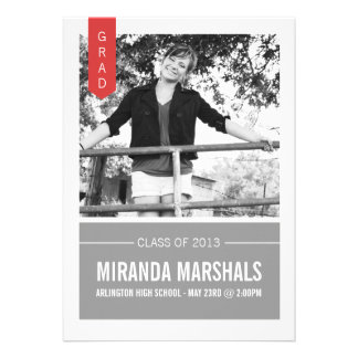 Red & Gray Photo Graduation Announcements