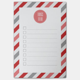 Red Gray & Pink Diagonal Stripes To Do List Post-it Notes