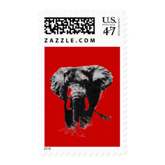 Red Gray Pop Art Elephant Stamp