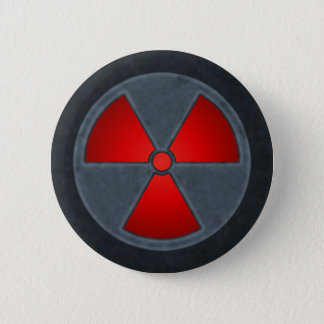Red & Gray Radiation Symbol Button