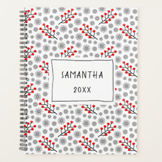 Red Gray Scandinavian Floral Pattern Planner