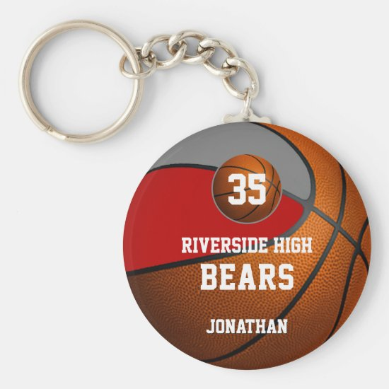 Red gray school colors boys' basketball team keychain