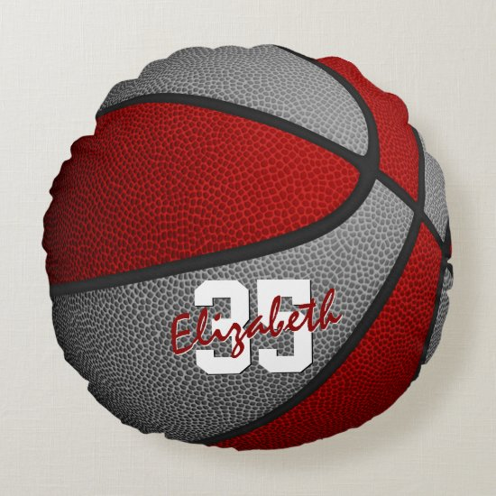 red gray school colors girls boys basketball room round pillow