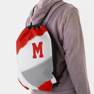 red gray school spirit boys girls volleyball drawstring bag