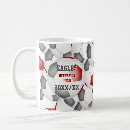 red gray soccer school team colors coach gift coffee mug
