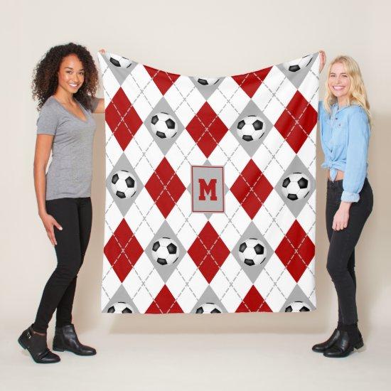 red gray soccer team colors argyle fleece blanket