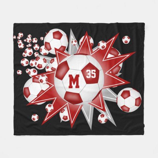 red gray sports room decor soccer ball blowout fleece blanket